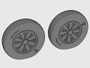 ASQ48072 1/48 F4U Corsair / F6F Hellcat Late Ribbed Thread (late '50s) Wheels set